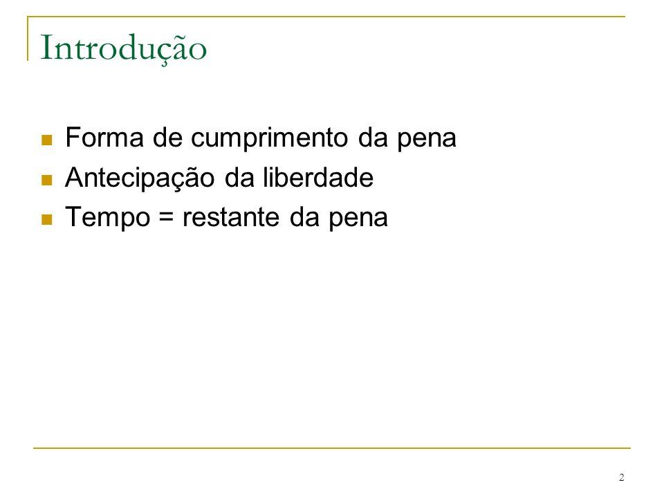 2 Introdução Forma de cumprimento da pena Antecipação da liberdade Tempo = restante da pena