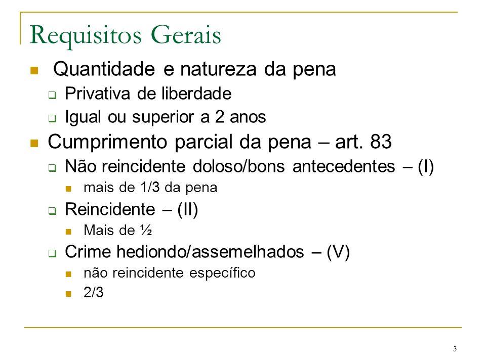 3 Requisitos Gerais Quantidade e natureza da pena Privativa de liberdade Igual ou superior a 2 anos Cumprimento parcial da pena – art. 83 Não reincide