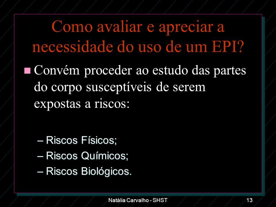 Natália Carvalho - SHST13 Como avaliar e apreciar a necessidade do uso de um EPI? n Convém proceder ao estudo das partes do corpo susceptíveis de sere