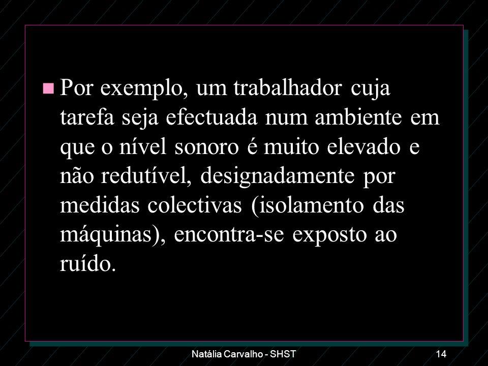 Natália Carvalho - SHST14 n Por exemplo, um trabalhador cuja tarefa seja efectuada num ambiente em que o nível sonoro é muito elevado e não redutível,