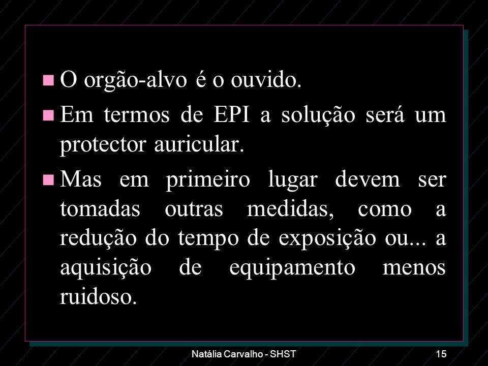 Natália Carvalho - SHST15 n O orgão-alvo é o ouvido. n Em termos de EPI a solução será um protector auricular. n Mas em primeiro lugar devem ser tomad
