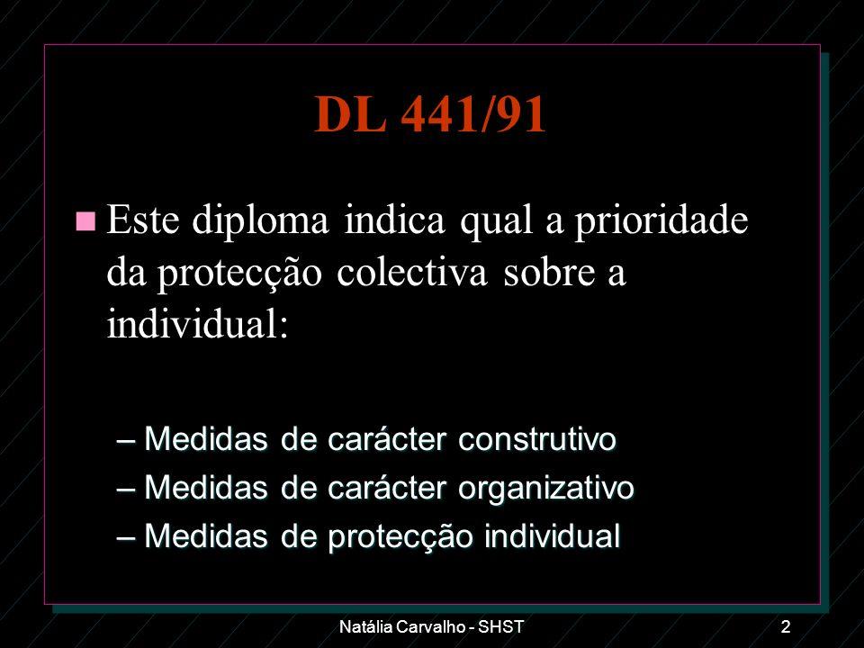 Natália Carvalho - SHST2 DL 441/91 n Este diploma indica qual a prioridade da protecção colectiva sobre a individual: –Medidas de carácter construtivo