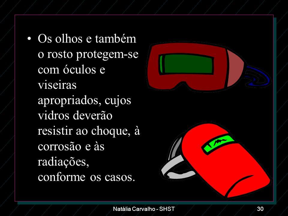 Natália Carvalho - SHST30 Os olhos e também o rosto protegem-se com óculos e viseiras apropriados, cujos vidros deverão resistir ao choque, à corrosão