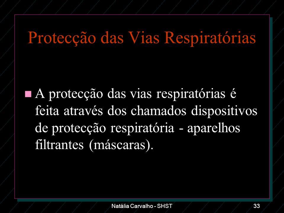 Natália Carvalho - SHST33 Protecção das Vias Respiratórias n A protecção das vias respiratórias é feita através dos chamados dispositivos de protecção