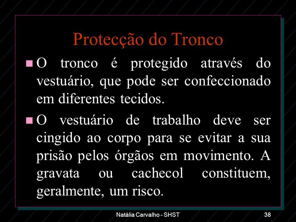 Natália Carvalho - SHST38 Protecção do Tronco n O tronco é protegido através do vestuário, que pode ser confeccionado em diferentes tecidos. n O vestu