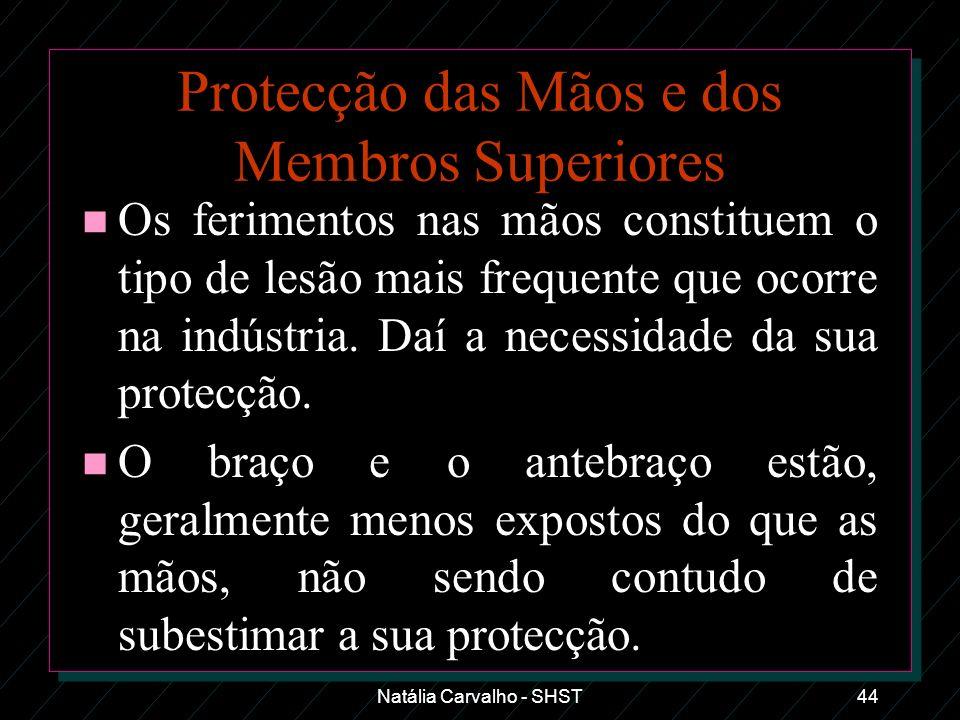 Natália Carvalho - SHST44 Protecção das Mãos e dos Membros Superiores n Os ferimentos nas mãos constituem o tipo de lesão mais frequente que ocorre na