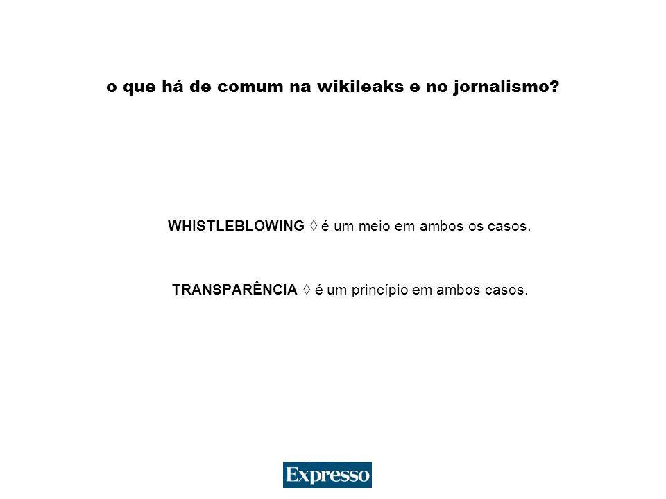 o que há de comum na wikileaks e no jornalismo. WHISTLEBLOWING é um meio em ambos os casos.