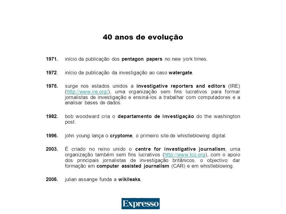40 anos de evolução 1971. início da publicação dos pentagon papers no new york times.