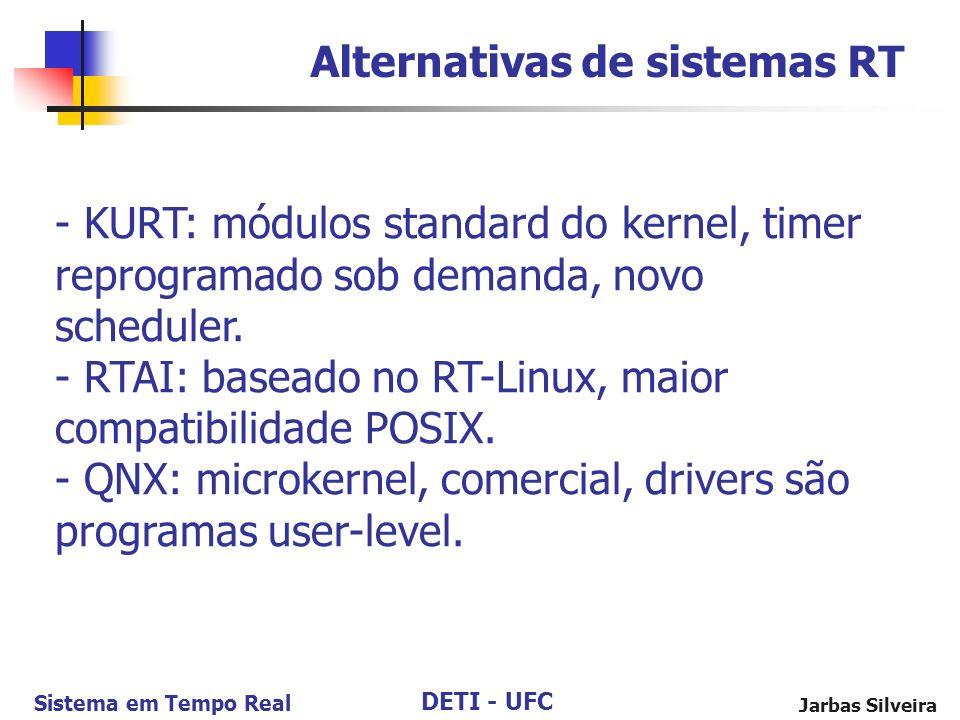DETI - UFC Sistema em Tempo Real Jarbas Silveira Alternativas de sistemas RT - KURT: módulos standard do kernel, timer reprogramado sob demanda, novo