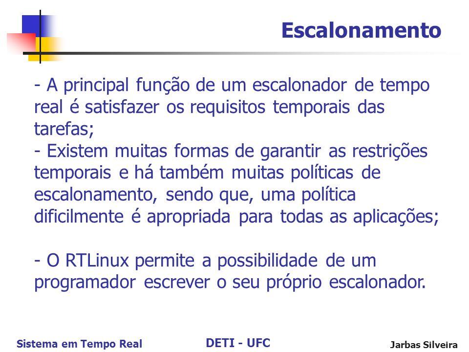 DETI - UFC Sistema em Tempo Real Jarbas Silveira Escalonamento - A principal função de um escalonador de tempo real é satisfazer os requisitos tempora
