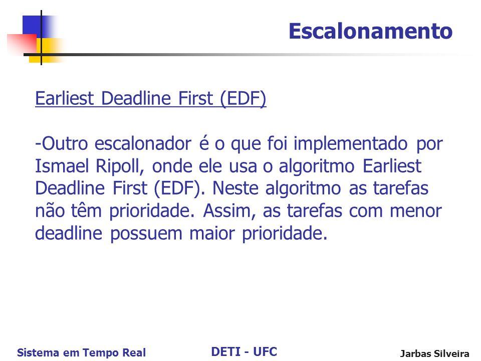 DETI - UFC Sistema em Tempo Real Jarbas Silveira Escalonamento Earliest Deadline First (EDF) -Outro escalonador é o que foi implementado por Ismael Ri