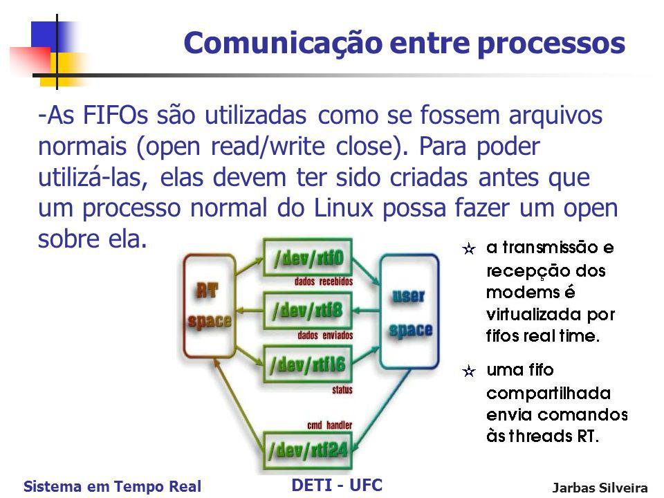DETI - UFC Sistema em Tempo Real Jarbas Silveira Comunicação entre processos -As FIFOs são utilizadas como se fossem arquivos normais (open read/write