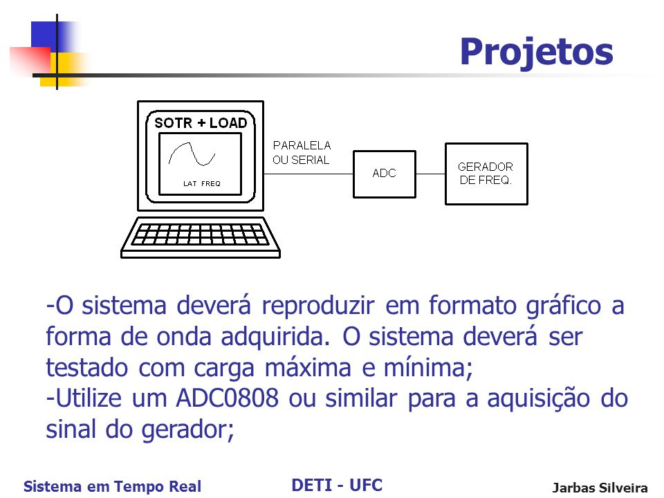 DETI - UFC Sistema em Tempo Real Jarbas Silveira Projetos -O sistema deverá reproduzir em formato gráfico a forma de onda adquirida. O sistema deverá