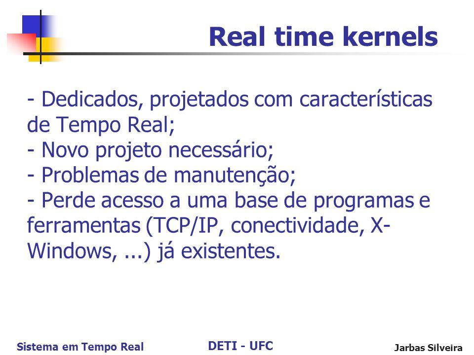 DETI - UFC Sistema em Tempo Real Jarbas Silveira - Dedicados, projetados com características de Tempo Real; - Novo projeto necessário; - Problemas de