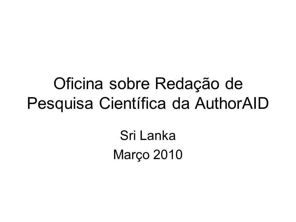 Oficina sobre Redação de Pesquisa Científica da AuthorAID Sri Lanka Março 2010