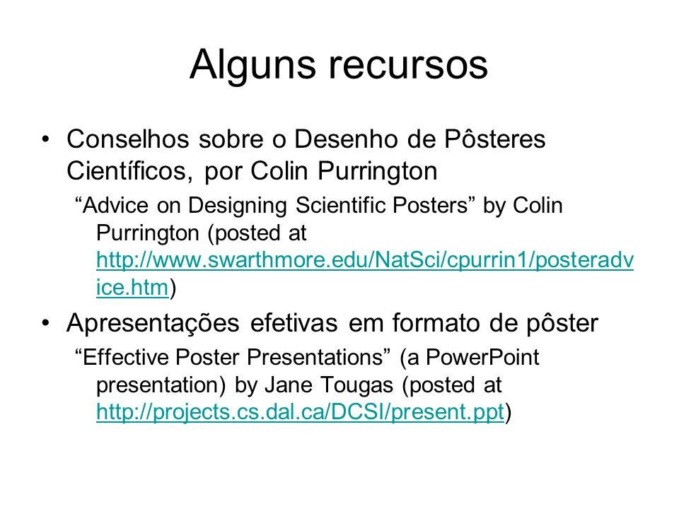 Alguns recursos Conselhos sobre o Desenho de Pôsteres Científicos, por Colin Purrington Advice on Designing Scientific Posters by Colin Purrington (po