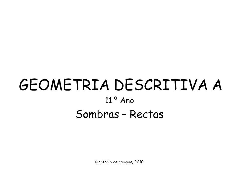GEOMETRIA DESCRITIVA A 11.º Ano Sombras – Rectas © antónio de campos, 2010