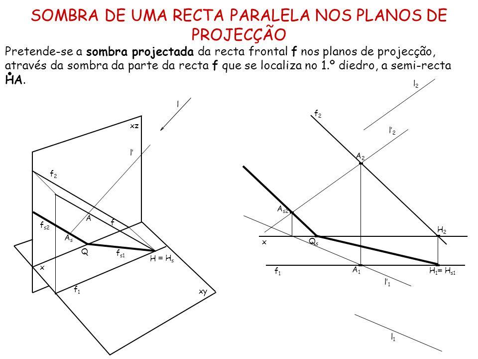 SOMBRA DE UMA RECTA PARALELA NOS PLANOS DE PROJECÇÃO Pretende-se a sombra projectada da recta frontal f nos planos de projecção, através da sombra da