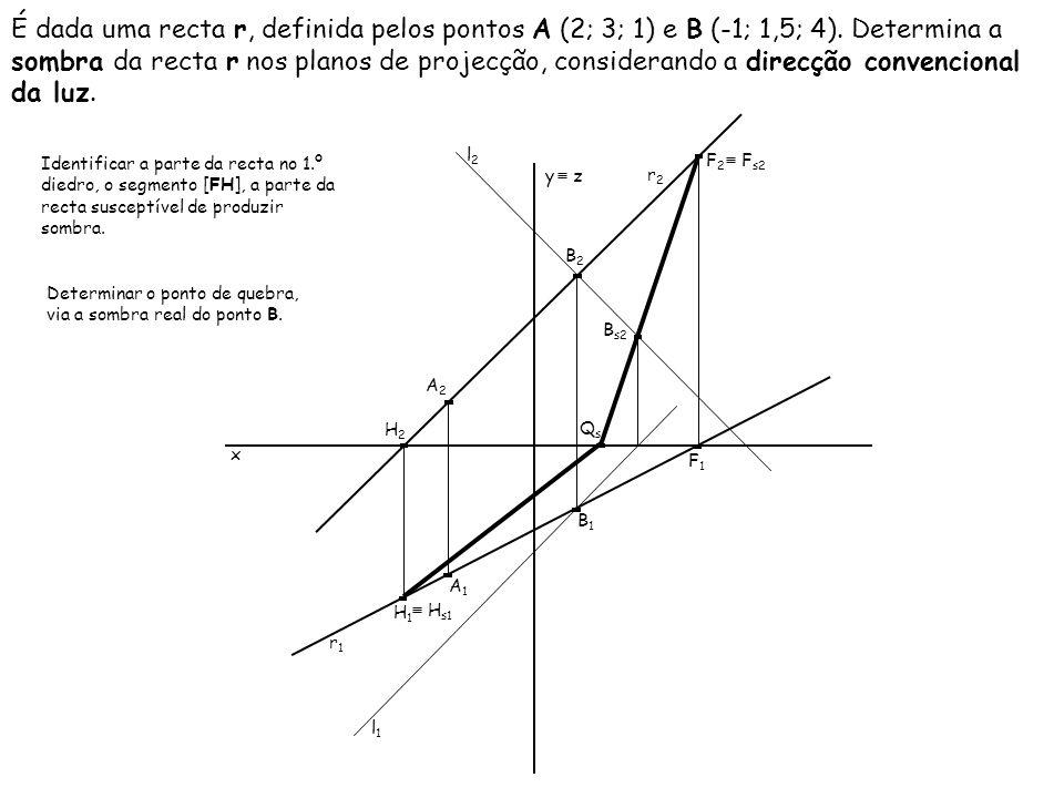 É dada uma recta r, definida pelos pontos A (2; 3; 1) e B (-1; 1,5; 4). Determina a sombra da recta r nos planos de projecção, considerando a direcção