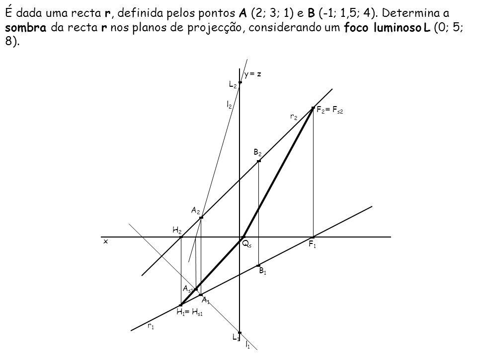 É dada uma recta r, definida pelos pontos A (2; 3; 1) e B (-1; 1,5; 4). Determina a sombra da recta r nos planos de projecção, considerando um foco lu