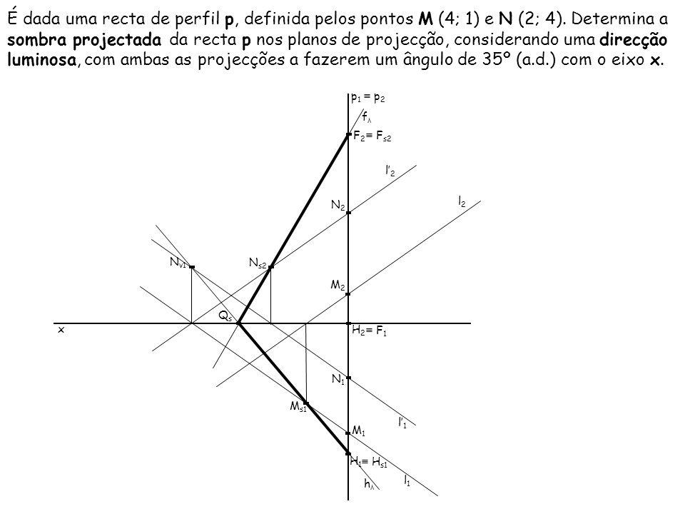 É dada uma recta de perfil p, definida pelos pontos M (4; 1) e N (2; 4). Determina a sombra projectada da recta p nos planos de projecção, considerand