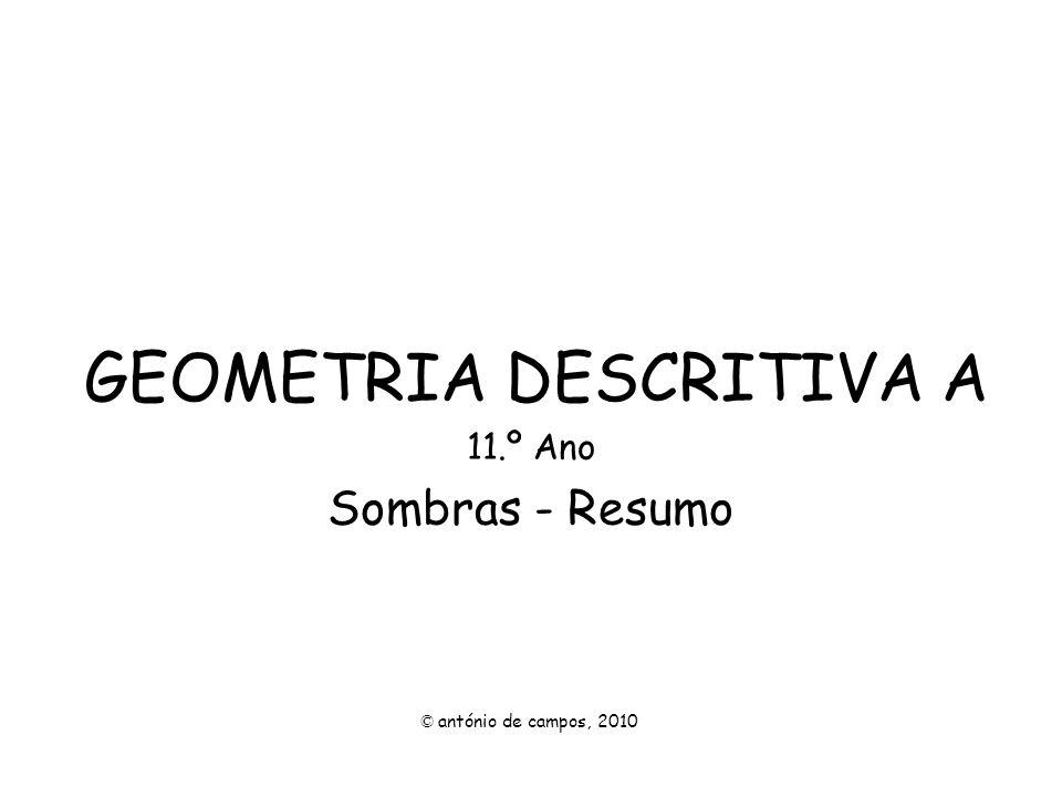 GEOMETRIA DESCRITIVA A 11.º Ano Sombras - Resumo © antónio de campos, 2010