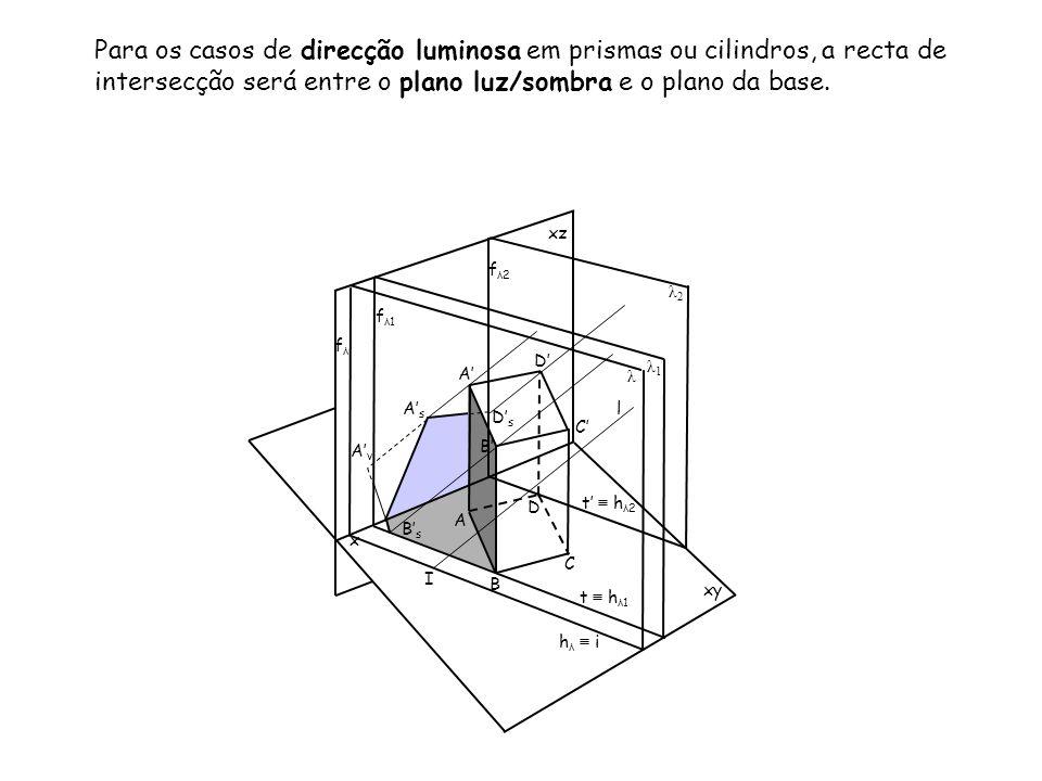 Para os casos de direcção luminosa em prismas ou cilindros, a recta de intersecção será entre o plano luz/sombra e o plano da base. x xz xy B C D D A