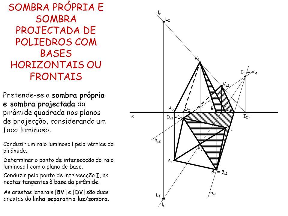 SOMBRA PRÓPRIA E SOMBRA PROJECTADA DE POLIEDROS COM BASES HORIZONTAIS OU FRONTAIS Pretende-se a sombra própria e sombra projectada da pirâmide quadrad