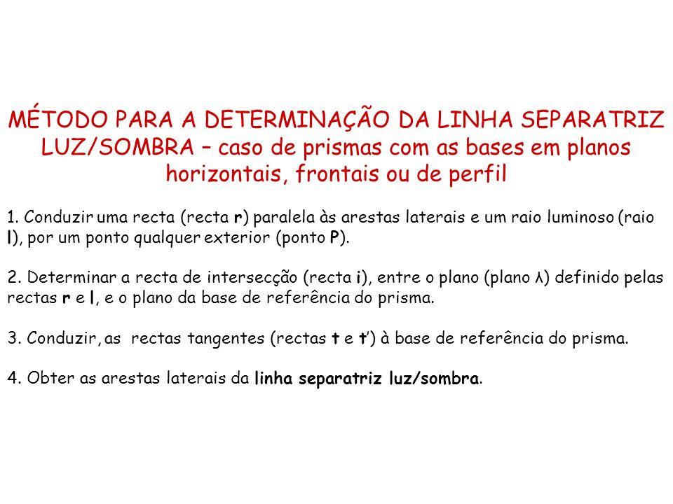 MÉTODO PARA A DETERMINAÇÃO DA LINHA SEPARATRIZ LUZ/SOMBRA – caso de prismas com as bases em planos horizontais, frontais ou de perfil 1. Conduzir uma