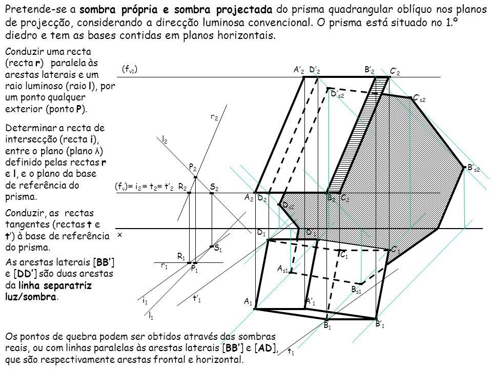 Pretende-se a sombra própria e sombra projectada do prisma quadrangular oblíquo nos planos de projecção, considerando a direcção luminosa convencional