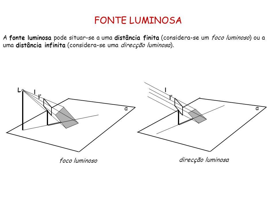 FONTE LUMINOSA A fonte luminosa pode situar-se a uma distância finita (considera-se um foco luminoso) ou a uma distância infinita (considera-se uma di