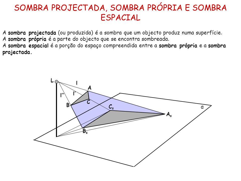 SOMBRA PROJECTADA, SOMBRA PRÓPRIA E SOMBRA ESPACIAL A sombra projectada (ou produzida) é a sombra que um objecto produz numa superfície. A sombra próp