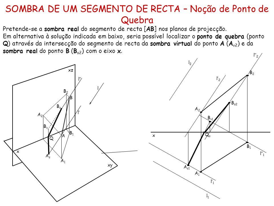 SOMBRA DE UM SEGMENTO DE RECTA PARALELO A UM DOS PLANOS DE PROJECÇÃO Pretende-se a sombra real do segmento de recta horizontal [AB].