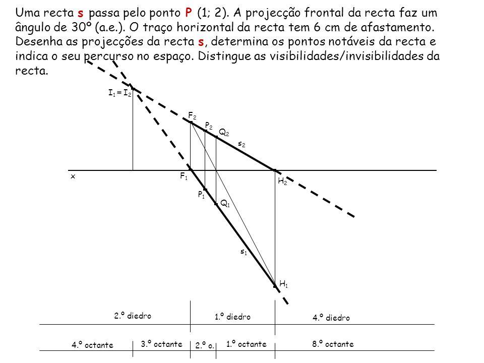 Uma recta s passa pelo ponto P (1; 2). A projecção frontal da recta faz um ângulo de 30º (a.e.). O traço horizontal da recta tem 6 cm de afastamento.