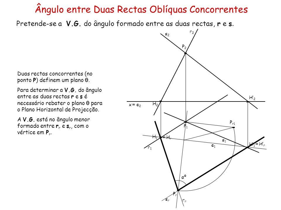 Ângulo entre Duas Rectas Oblíquas Concorrentes Pretende-se a V.G. do ângulo formado entre as duas rectas, r e s. x P1P1 P2P2 r1r1 r2r2 s2s2 s1s1 Duas