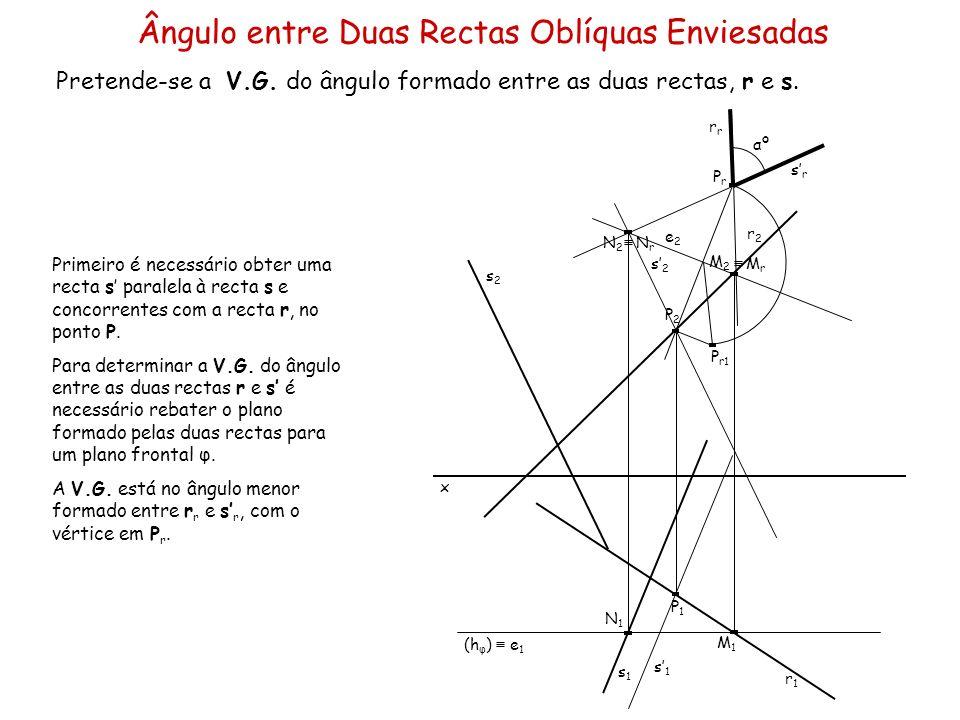 Ângulo entre Duas Rectas Oblíquas Enviesadas Pretende-se a V.G. do ângulo formado entre as duas rectas, r e s. x r2r2 s2s2 s1s1 r1r1 Primeiro é necess
