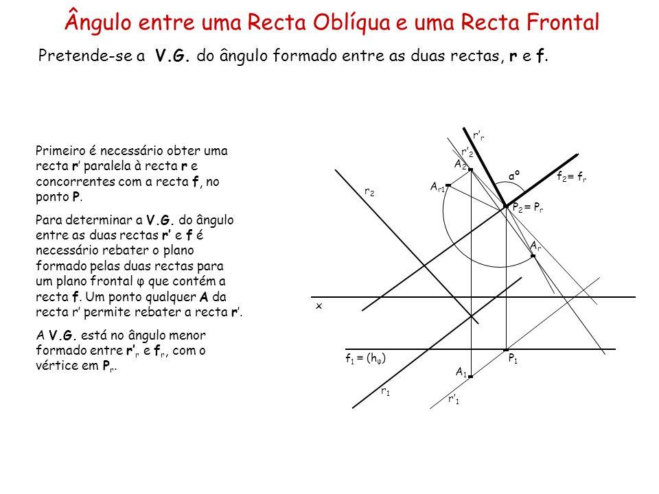 Ângulo entre uma Recta Oblíqua e uma Recta Frontal Pretende-se a V.G. do ângulo formado entre as duas rectas, r e f. x r2r2 r1r1 f1f1 f2f2 Primeiro é