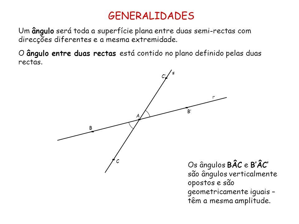 GENERALIDADES Um ângulo será toda a superfície plana entre duas semi-rectas com direcções diferentes e a mesma extremidade. O ângulo entre duas rectas