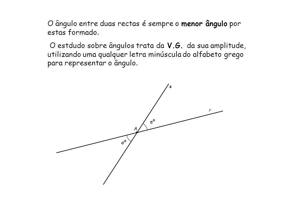 s r A O ângulo entre duas rectas é sempre o menor ângulo por estas formado. O estdudo sobre ângulos trata da V.G. da sua amplitude, utilizando uma qua