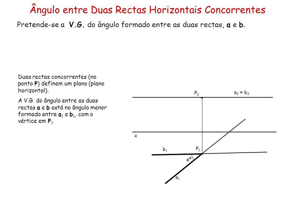 Ângulo entre Duas Rectas Horizontais Concorrentes Pretende-se a V.G. do ângulo formado entre as duas rectas, a e b. x a 2 b 2 a1a1 b1b1 P1P1 P2P2 Duas