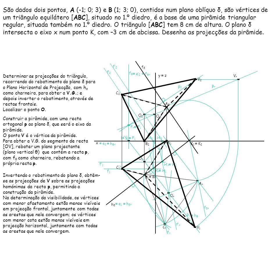 H2H2 H r H 1 H2H2 São dados dois pontos, A (-1; 0; 3) e B (1; 3; 0), contidos num plano oblíquo δ, são vértices de um triângulo equilátero [ABC], situ