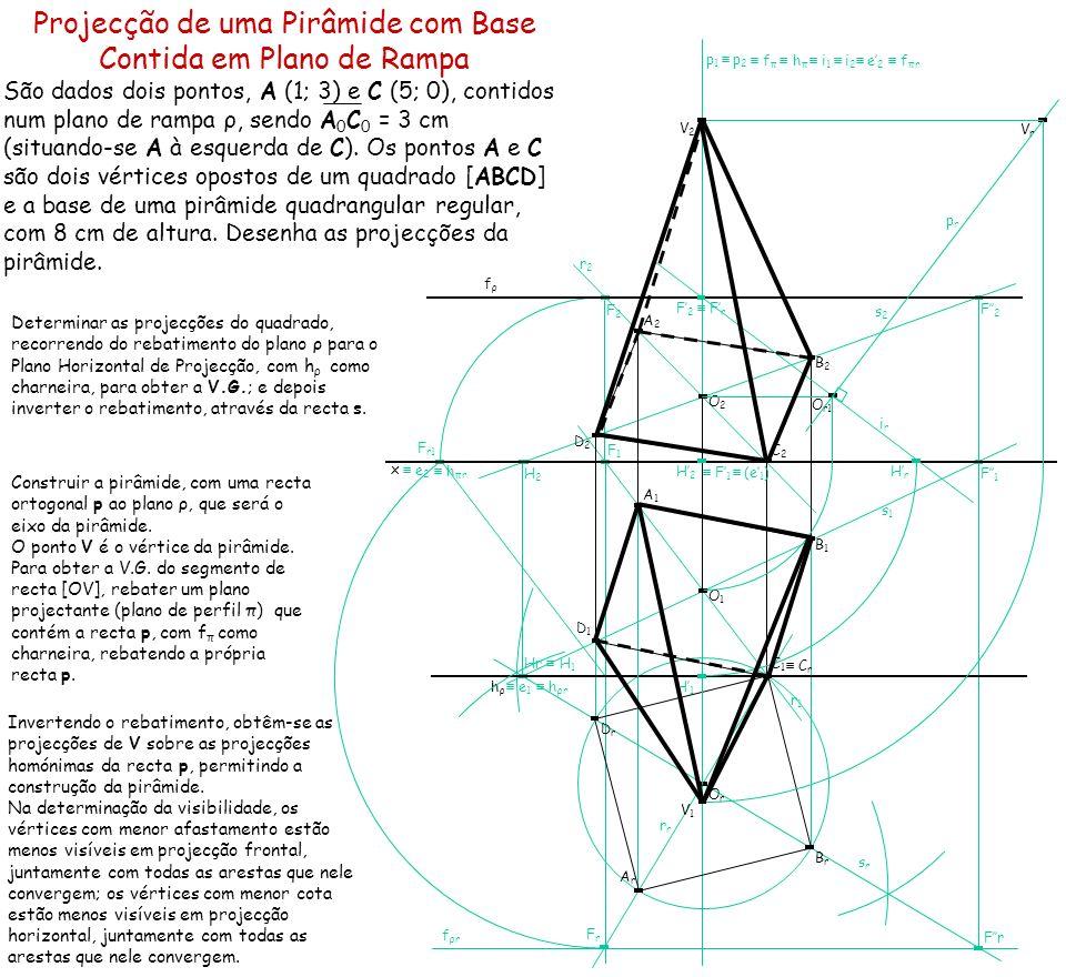 F1F1 Fr F2F2 H2H2 Hr H 1 F r1 F2F2 F1F1 Projecção de uma Pirâmide com Base Contida em Plano de Rampa São dados dois pontos, A (1; 3) e C (5; 0), conti