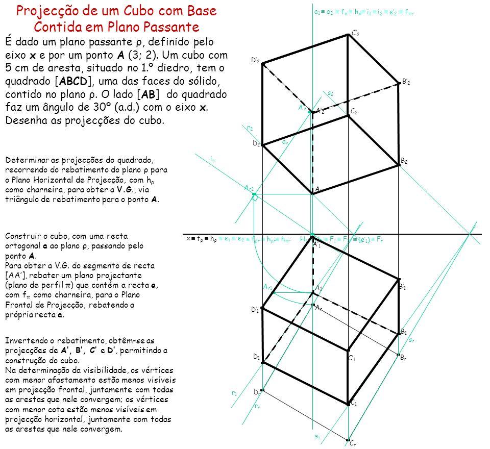 Projecção de um Cubo com Base Contida em Plano Passante É dado um plano passante ρ, definido pelo eixo x e por um ponto A (3; 2). Um cubo com 5 cm de