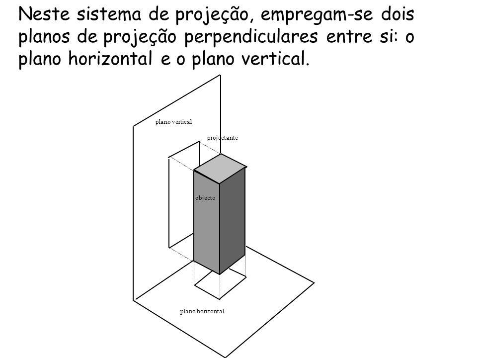 Neste sistema de projeção, empregam-se dois planos de projeção perpendiculares entre si: o plano horizontal e o plano vertical. objecto plano horizont