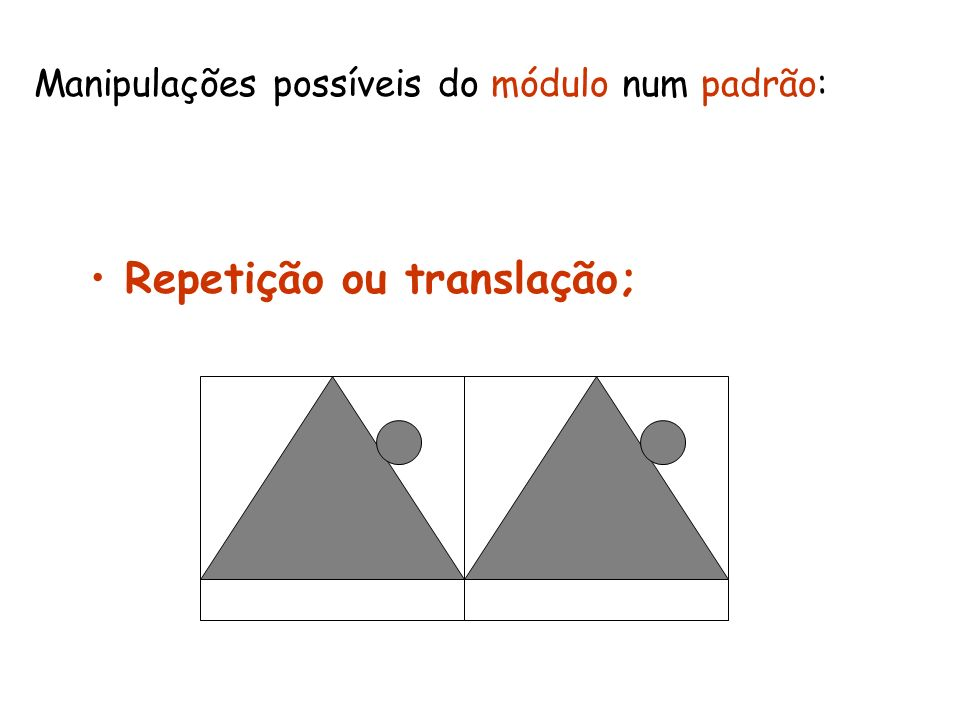 Manipulações possíveis do módulo num padrão: Repetição ou translação;