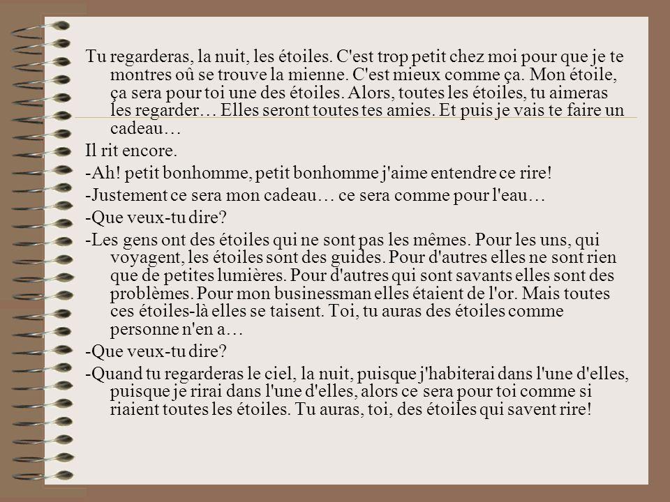 Leggi al sito : http://www.odaha.com/antoine-de-saint-exupery/maly-princ/le-petit- prince Guarderai, di notte, le stelle.