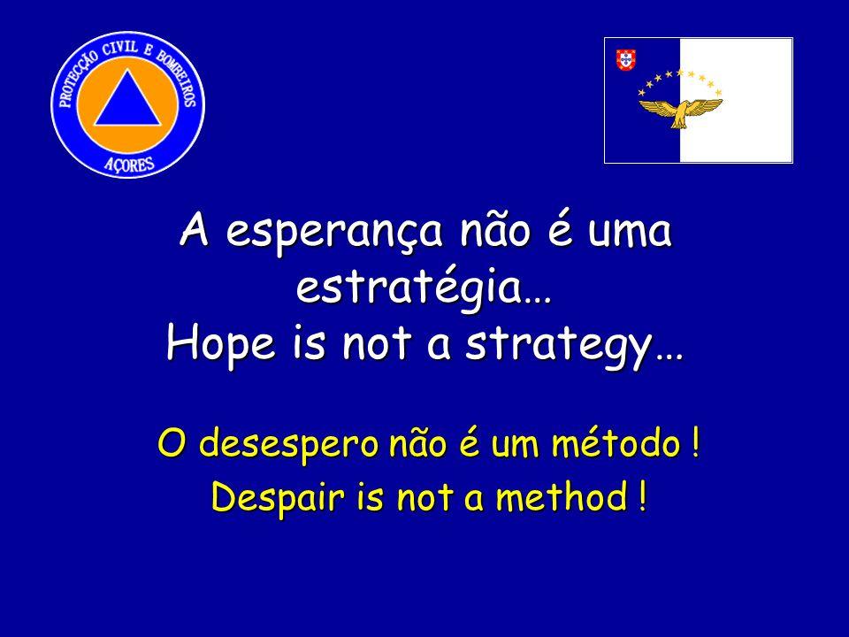 A esperança não é uma estratégia… Hope is not a strategy… O desespero não é um método .