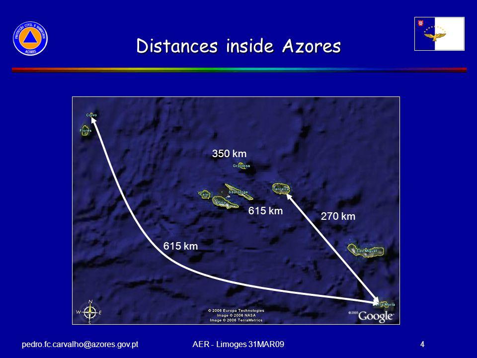 pedro.fc.carvalho@azores.gov.ptAER - Limoges 31MAR094 Distances inside Azores 615 km 270 km 350 km