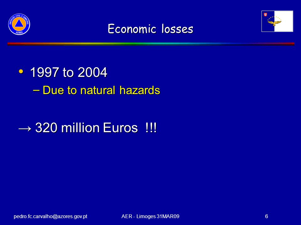 pedro.fc.carvalho@azores.gov.ptAER - Limoges 31MAR096 Economic losses 1997 to 2004 1997 to 2004 – Due to natural hazards 320 million Euros !!! 320 mil