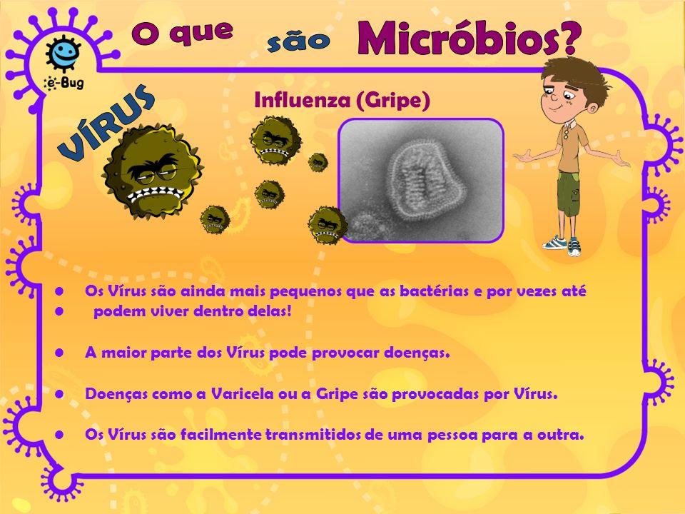 Influenza (Gripe) Os Vírus são ainda mais pequenos que as bactérias e por vezes até podem viver dentro delas! A maior parte dos Vírus pode provocar do